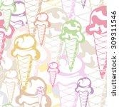 ice cream seamless background ...   Shutterstock .eps vector #309311546