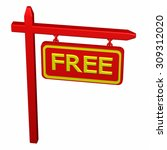 pillar with  free sign ... | Shutterstock . vector #309312020