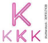 pink line k logo design set
