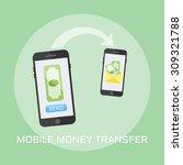 mobile money transfer flat... | Shutterstock .eps vector #309321788