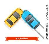 frontal 90 degree car crash... | Shutterstock .eps vector #309322376