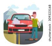 man on a roadside standing near ... | Shutterstock .eps vector #309323168
