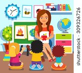 kindergarten teacher woman... | Shutterstock .eps vector #309326726