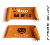 two halloween banners  isolated ... | Shutterstock .eps vector #309333404