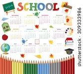 school calendar on new year...   Shutterstock .eps vector #309333986