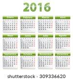 green calendar for 2016 year in ... | Shutterstock .eps vector #309336620