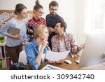 group of people working in the... | Shutterstock . vector #309342740