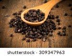 black pepper on wooden spoon... | Shutterstock . vector #309347963