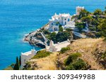 white hotels on the blue sea... | Shutterstock . vector #309349988