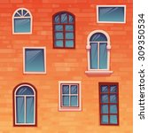 background of wall with windows.... | Shutterstock .eps vector #309350534