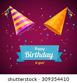 vector birthday card with two... | Shutterstock .eps vector #309354410