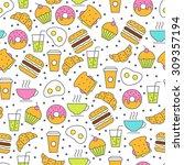 seamless vector food pattern.... | Shutterstock .eps vector #309357194