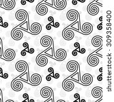 black celtic triskels vector... | Shutterstock .eps vector #309358400