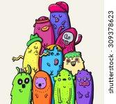 hand drawn doodle monsters ... | Shutterstock .eps vector #309378623