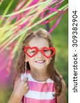 little girl with funny paper... | Shutterstock . vector #309382904