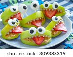Spooky Green Apple Monsters Fo...
