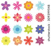 Set Of Vector Isolated Flowers...
