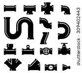 pipe fittings vector icons set. ... | Shutterstock .eps vector #309402443