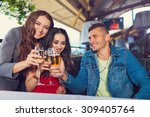 friends at party drinking... | Shutterstock . vector #309405764