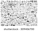set of food and drinks doodle... | Shutterstock .eps vector #309406700