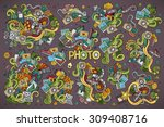 colorful vector hand drawn... | Shutterstock .eps vector #309408716