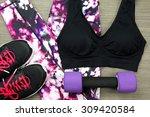 Women's Sport Wear And Dumbbel...
