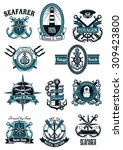 vintage nautical badges with... | Shutterstock .eps vector #309423800