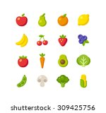 set of healthy fruit and...   Shutterstock .eps vector #309425756