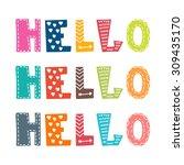 hello. hand lettering. vector... | Shutterstock .eps vector #309435170
