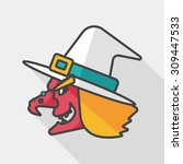 witch hat flat icon with long... | Shutterstock .eps vector #309447533