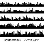 islamic cityscape silhouettes... | Shutterstock .eps vector #309453344