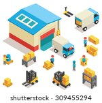 isometric factory distribution... | Shutterstock .eps vector #309455294