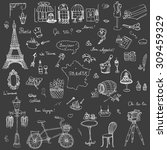 set of hand drawn french icons  ... | Shutterstock .eps vector #309459329