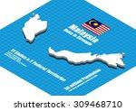 malaysia map vector three... | Shutterstock .eps vector #309468710