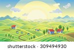 summer rural landscape with... | Shutterstock .eps vector #309494930