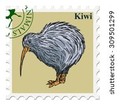 vector  post stamp with kiwi... | Shutterstock .eps vector #309501299