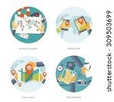 flat travel background. vector... | Shutterstock .eps vector #309503699