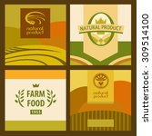 set of eco food and farm logo ... | Shutterstock .eps vector #309514100