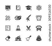 school icons set. | Shutterstock .eps vector #309516530