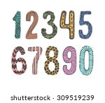 hand drawn doodle numbers set | Shutterstock .eps vector #309519239