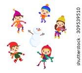winter little girl sculpts... | Shutterstock . vector #309539510