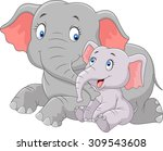 cartoon happy mother and baby... | Shutterstock .eps vector #309543608