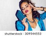 indoor fashion autumn  portrait ... | Shutterstock . vector #309544553