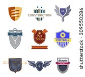 set logo templates with a... | Shutterstock .eps vector #309550286