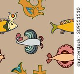 seamless pattern with fish | Shutterstock .eps vector #309551510