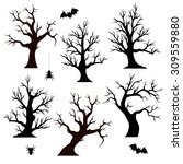 halloween trees  spiders and... | Shutterstock .eps vector #309559880