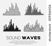 vector music sound waves set.... | Shutterstock .eps vector #309566426