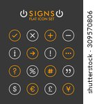 vector flat icon set   signs    Shutterstock .eps vector #309570806