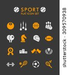 vector flat icon set   sport