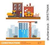 construction set. workers... | Shutterstock .eps vector #309579644